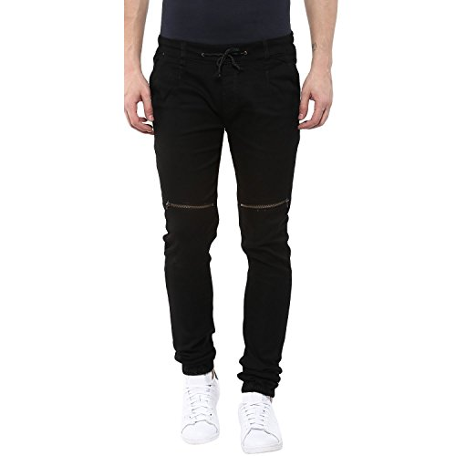 Urbano Fashion Men's Black Slim Fit Stretch Zippered Jogger Jeans