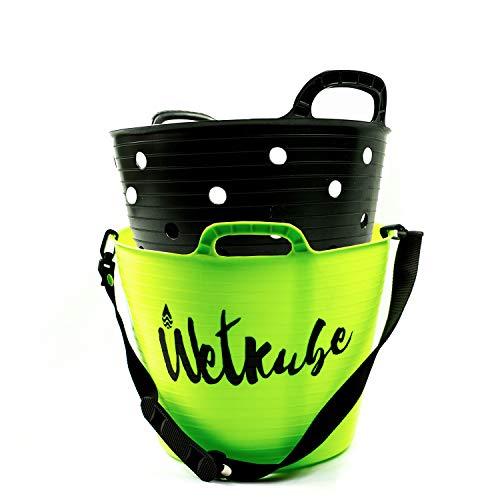 WETKUBE Cubo para Cambiarse, Secar, Transportar y Guardar el Traje de Neopreno, Ideal para el Mundo del Surf, Buceo, Sup, Windsurf, Padel Surf (Tamaño L - 25 litros, Verde)