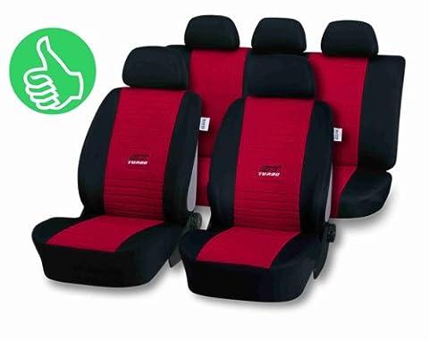 Universal Schonbezug Sitzbezug GT-TURBO rot für Seat Ibiza (6K,6L,6J), Leon (1P,1M), Toledo (1M,5P)