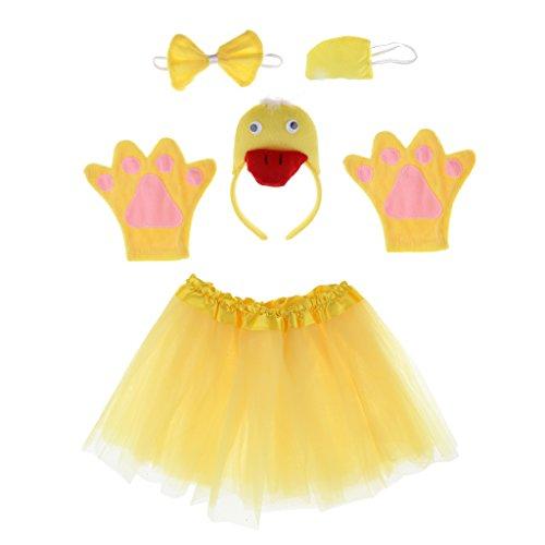 MagiDeal Cosplay Kostüme Tierkostüme Set - Ohren Stirnband, Schwanz, Fliege, Handschuhe, Rock - Für Kinder - Ente (Baby-schwein Halloween Kostüm)