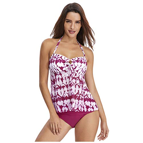 Meijunter Damen Padded Tankinis Badeanzug Set - Vintage Floral Print Ruched Halfter Push up Bikini Schwimmen Kostüm Strand Bademode (2 Stück) - 2 Stück Floral Tankini