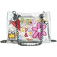 AGOPO Mode 2 en 1 Bolso de Hombro de Cadena Floral Colorido Bolso Transparente Impermeable natación Claro PVC Tote (Transparente) para niña Dama