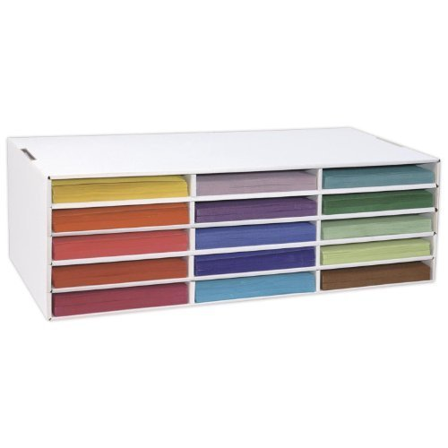 Classroom Keepers Construction Paper Storage, 15 Slots, Slot Size 12 5 x  9 25 x 1 5 Inches White (1310) by Classroom Keepers
