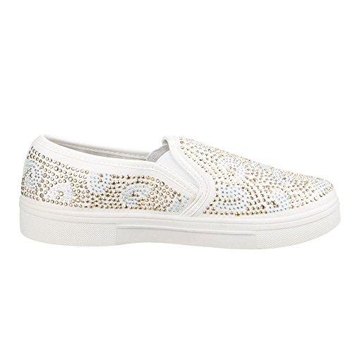 Damen Schuhe, LB930-1, HALBSCHUHE SLIPPER Weiß W-70-