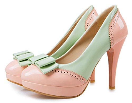 YE Damen Elegant High Heel Plateau Runde Spitze Geschlossen Lackleder Pumps mit Schleife 10cm Absatz Party Schuhe Rosa