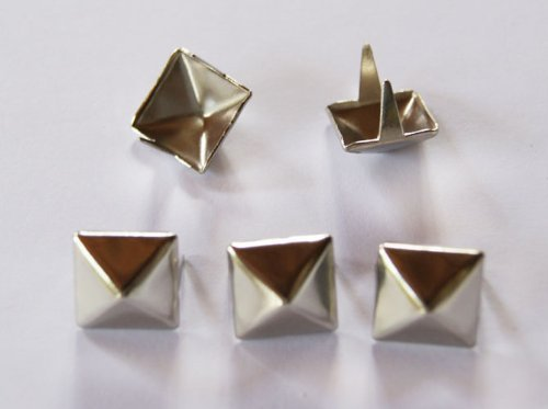 Forever Young 100pcs Fashion Silver 11mm Pyramid Studs Spots Punk Nailheads Spikes for Bag Shoes Bracelet by Vogholic