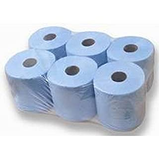 FiNeWaY 6 x Blue Paper Rolls - 2 Ply Embossed Centre Feed - Hand Towel - 300 SHEETS PER ROLLS
