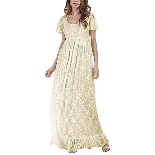 IWEMEK Elegantes Damen Umstandskleid Mutterschaft Fotografie Kleid Schwangerschafts Kleid Spitzenkleid Empire Kleid Spitzen Rundhals Kurz-Sleeved MaxiKleid Beige (Mutterschaft Fancy Dress)