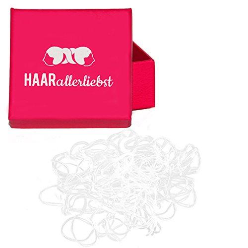 250 Haargummis mini transparent 10mm in pinker Box von HAARallerliebst