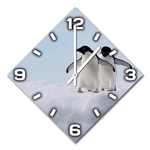 Pinguin, Design Wanduhr aus Alu Dibond zum Aufhängen, 48 cm Durchmesser, schmale Zeiger, schöne und moderne Wand Dekoration, mit qualitativem Quartz Uhrwerk