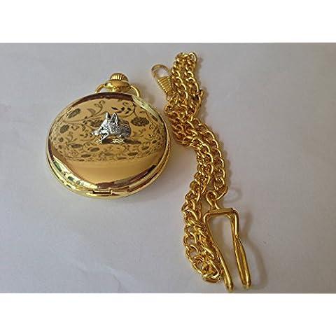 Fox Head A11 S in oro lucido, regalo orologio da taschino al quarzo, made in sheffield
