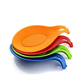 Annstory Silicone Spoon Rest Set - Set of 4 Kitchen Jumbo Spoon Holder Set with Bright Colourful FDA Approved 4er Set Zufallsfarben Bunt