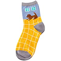 LHWY 1 par de calcetines de algodón de las mujeres del carácter animal imprimir calcetines de invierno de las mujeres