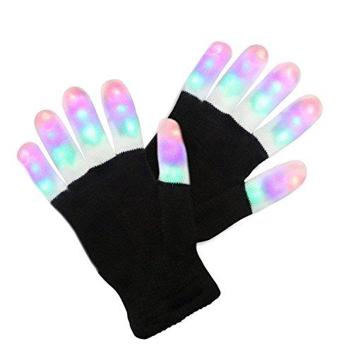 LED Handschuhe mit 3 Lichtfarbe und 6 Modus, blinkende Handschuhe Spielzeug für Weihnachten, Halloween, Party und Karneval, Kostüm Beleuchtung Geschenke für Kinder, Mädchen, Junge, zum (Einfache Kostüme Mädchen Für Halloween)