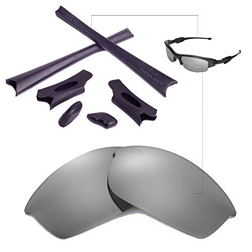 Walleva Ersatzgläser oder Linsen/Gummisatz für Oakley Flak Jacket Sonnenbrille - 26 Optionen (Titan Polarisierte Linsen + Schwarzer Gummi)