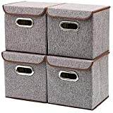 VelVeeta Storage Bins Linen Fabric Foldable Basket Cubes Organizer Boxes Containers Drawers with Lid - Gray For Office Nursery Bedroom Shelf (SET OF 4) - Brown Color