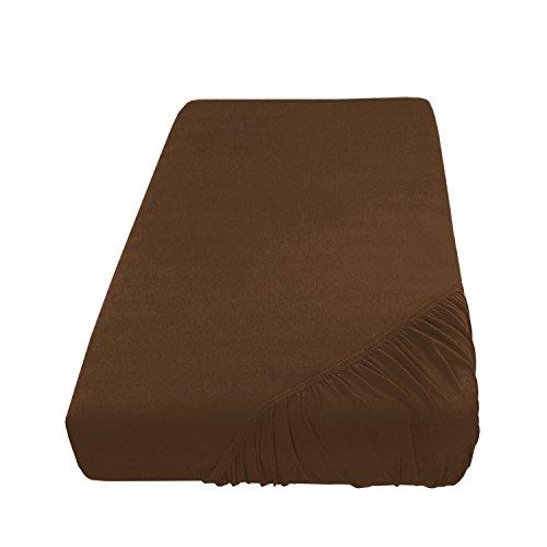 Spannbettlaken Bettlaken 90x190 - 100x200 cm / Spannbetttuch Spannleintuch aus Jersey Baumwolle in braun / schoko für Standardmatratzen