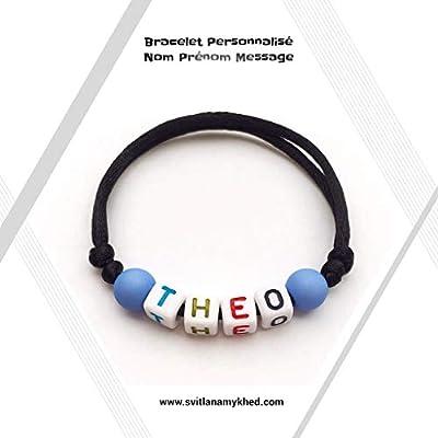 Bracelet personnalisé avec prénom THEO (réversible) homme, femme, enfant, bébé, nouveau-né