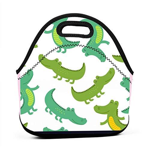 N/A Lustige Krokodil-Tragetasche für Mittagessen, Picknicktasche mit Reißverschluss für Outdoor-Reisen -