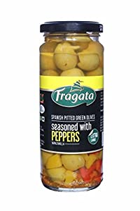 Fragata Spanish Pitted Flavored Olives (Pitted (Green) Olives with peppers
