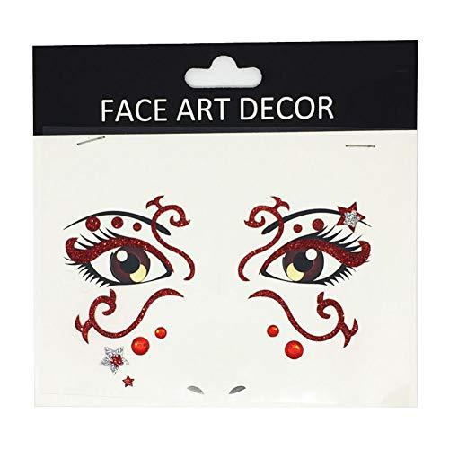 Pu Ran- Temporäre Tattoo-Aufkleber für Halloween, Party, Gesicht, Dekoration, Bühne, Make-up, Requisite Fs11