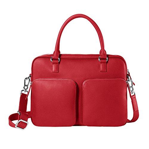 CHI CHI FAN Laptop Bag - Rot   Damen und Herren Umhängetasche aus echtem Leder   Top Qualität und Design treffen auf maximale Funktion und viel Stauraum   Bestens geeignet für Arbeit oder Uni