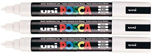 Uni Posca PC-5M weißer Farbe Paint Marker Pens 2,5 mm mittlere Rundspitze aus Metall mit Kunststoffrahmen Feder aus Stoff schreibt auf jeder Oberfläche aus Holz mit Glasstein (3 Stück)