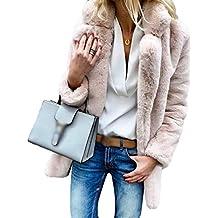 d69b1a829c562 Ketamyy Femme Automne Hiver Couleur Unie Manches Longues Revers Manteau  Doux Confortable Fausse Fourrure Veste Outwear