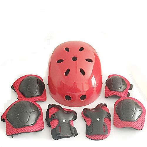 Kinder Schutzausrüstung verstellbar Sport Schutzausrüstung Set Sicherheitspolster (Helm Knie Ellenbogenbandage) 7-teiliges Set, rot