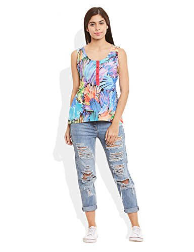 Very Me Women's Designer Sky Blue Pure Cotton Printed Short Top Size:- 40 / Xxl