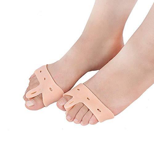 Aolvo separatore alluce valgo ortopedico - traspirante piede manica con elastico in silicone gel - indossare con le scarpe - tutore correttivo di giorno e notte per uomo e donna (colore pelle)