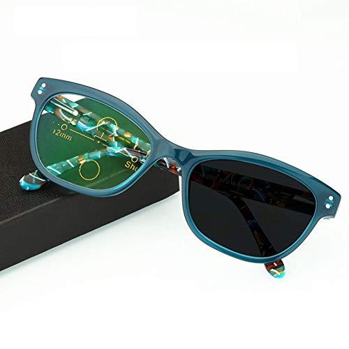 Eyetary Multifokale Lesebrille Progressive photochrome Sonnenbrillen -Acetat-Rahmen/Asphärische Linsen Bifokale Lesegeräte für UV400 /Blendschutz/Dioptrie +1,00 bis +3,00 Stärke,Blue,+2.5