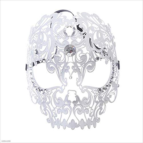 TX ZHAORUI Halloween-Maske Tiger Head Diamond Dance Ball Maske Diamond Ball Iron Full Face Maske Make-Up-Spielpunkt,White (White Halloween-make-up Tiger)