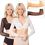 Fannyfuny Seamless Arm Shaped Underwear Women Long-Sleeved Short Shapewear Plus Size Slimming Arm Shaper Corrector Cropped Navel Mesh Bra Control Vest Tops Back Support M-XL