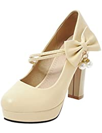 COOLCEPT Mujer Mujer Moda Tacon Alto Ancho Bombas Zapatos Nupcial Boda Zapatos con Bowknot (33 EU, Beige)