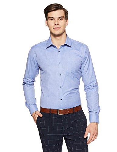 Park Avenue Men's Solid Slim Fit Formal Shirt (PMSX11326-B4!_42!_Medium Blue)