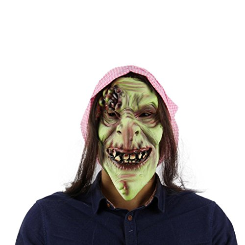 Halloween 2017 Twin Kostüme (HCFKJ 2017 Mode Halloween Old Hag Snow Horror Hexe Halloween KostüM Latex Vollmaske Adult)