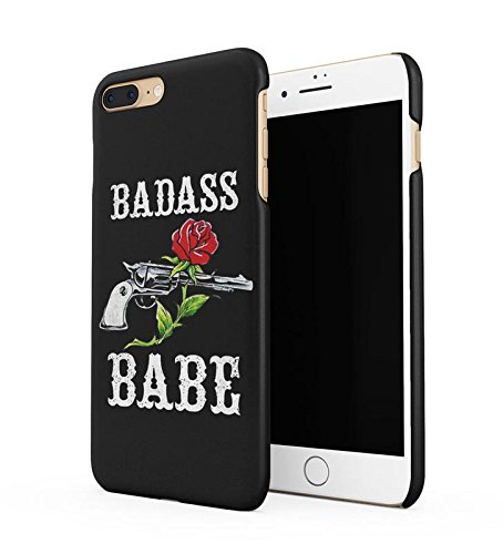 Lily Handy Snap (Badass Babe Red Rose & Revolver Durable Hard Plastic Snap On Phone Case Cover Shell For iPhone 7 Plus Handy Hülle)