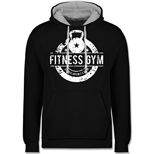 CrossFit & Workout - Fitness Gym Elite Sport Club - Kontrast Hoodie Schwarz/Grau Meliert