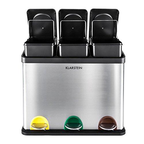 Klarstein bidone in acciaio cestino per raccolta differenziata pattumiera a pedale (45 litri di volume, 3 scomparti, contrassegni colorati)