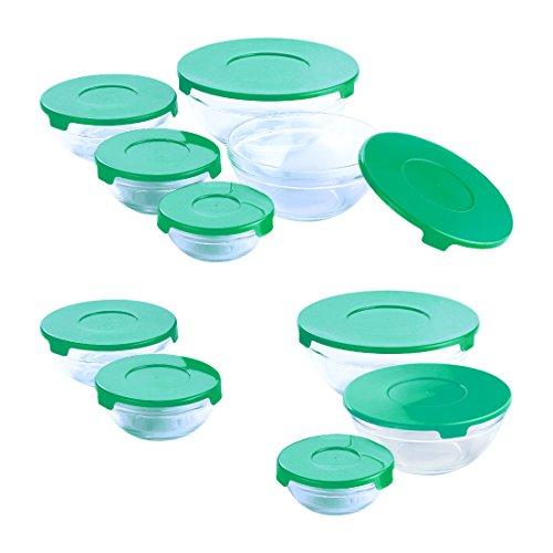 Renberg q235620Stück. Set Tupperware Container für Lebensmittel Boxen mit Deckel aus couleur-pour Mikrowelle Kühlschrank und Spülmaschine verschiedenen Größen: 150, 200, 350, 500, Glas, Grün, 20x 18x 19cm (2 Tasse Glas Vorratsbehälter)
