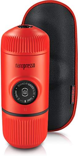 WACACO Nanopresso Portable Espresso Maker Bundled with Protective Case, Upgrade Version of Minipresso, Mini Travel Coffee Machine, Perfect for Camping, Travel and Office (Lava Red)
