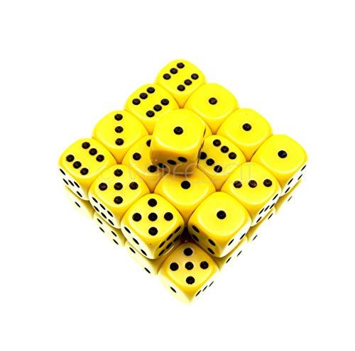 Würfelzeit 8865 - Würfel w6 12 mm Opaque gelb m/schwarz (32 Würfel in Klarsichtbox) - Würfel Gelb In 12mm