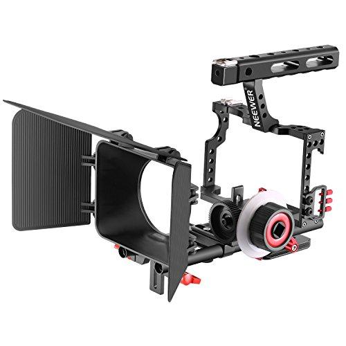 Neewer Jaula Vídeo Cámara Filmación con 15mm Barras Carril Caja Mate,Enfoque en Seguimiento con Correa Anillo Engranaje para Sony A7 A7S A7R A7R A7II A6000 A6300 A6500(Rojo+Negro)
