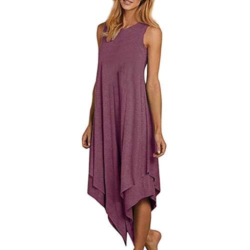 BHYDRY Mode Frauen Brief gedruckt Tank Top Kleid ärmellose Oansatz lässige Kleidung (Medium,Rosa) -