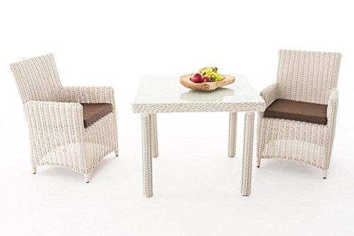 Gartenmöbel, Gartenmöbel-Set, Sitzgruppe Dorado K100, perl-weiß / terra-braun, Polyrattan-Aluminium-Gestell, Gartengarnitur, Sitzgarnitur.