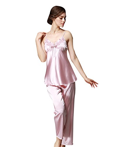 Menschwear Damen Ruhige Träume Pyjama Komfort Fit Top und Hose 3pcs Rosa