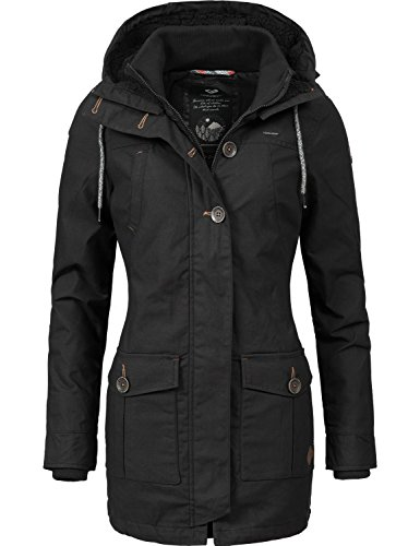 Ragwear Damen Mantel Wintermantel Winterparka YM-Jane (vegan hergestellt) Black Gr. L