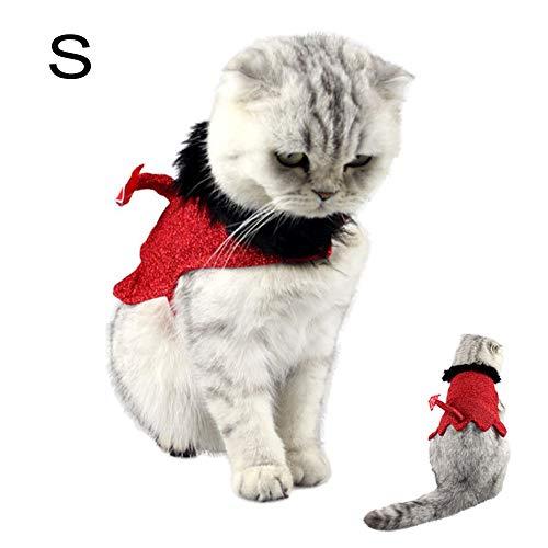 Nibesser Halloween-Kostüm Katze Kleidung Umhang für Katze und Hund rote Kostüm Polyester Cape Teufelstil mit Schwanz Cosplay Party Haustier Kleidung