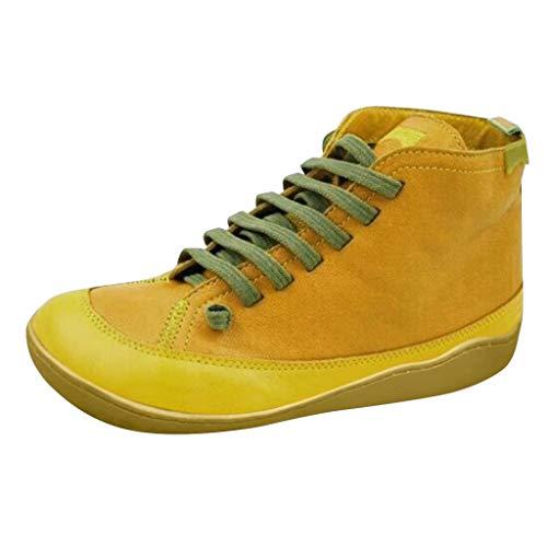 serliyArch Support Boots Damenstiefeletten, Dämpfungswiderstand Seitlicher Reißverschluss Vintage-Stil Seitliche Schnürschuhe Runde Zehenschuhe Kurze Stiefel für Frauen Mädchen